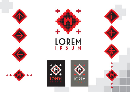 set and corporate identity with castel, fortress, bastion and other decoration elements for city tourism in pixel design and folk art style Ilustrace