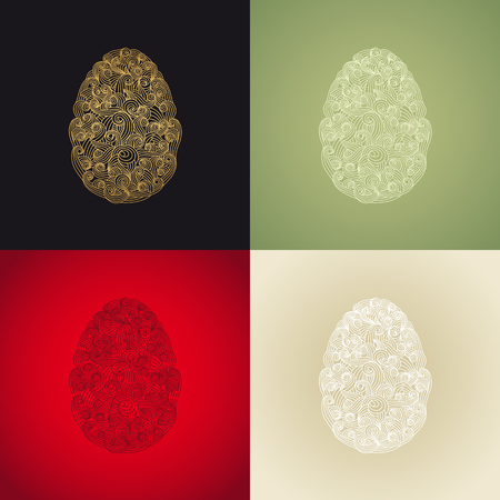 egg shaped: egg or oval shaped organic smoky motif pattern illustration for various design or eastern greeting card