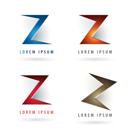 Logo design with letter Z shape elements and embossed 3d effect