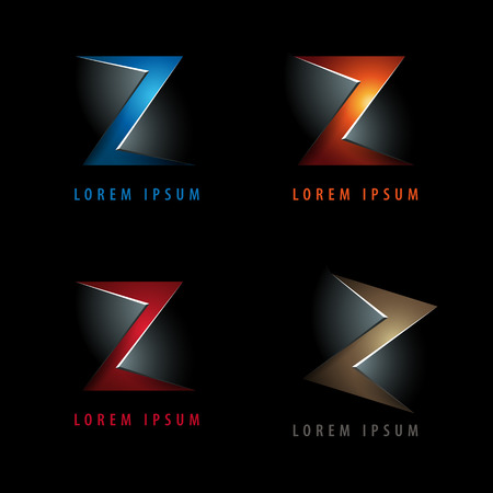 Letter Z logo icon design template elements with embossed 3d effect - in negative