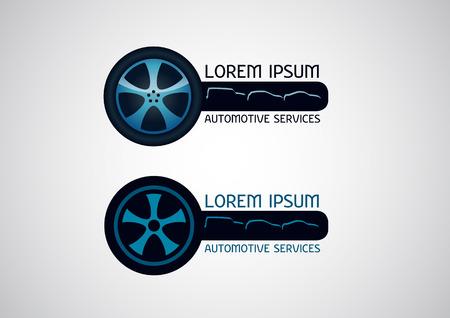 Automotive, car services, with wheel element - vector logo.