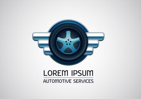 Automotive, car services, with wheel element - vector logo