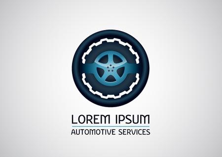 Automotive, car services, with steering wheel  - vector logo.