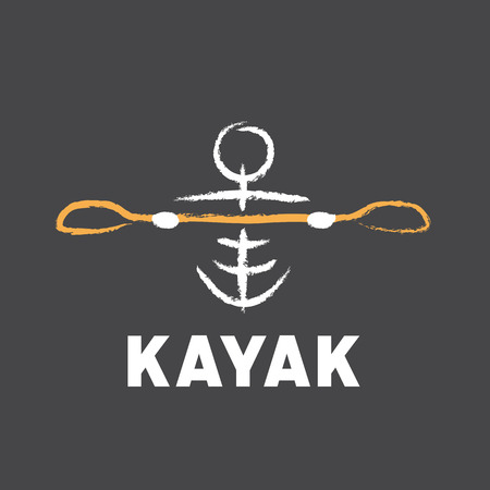 kayak logo created in tribal style with paddle Illustration