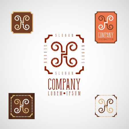 Elegant decorative logo for food, cafe, restaurant, confectionary menu design with monogram letter H Ilustrace