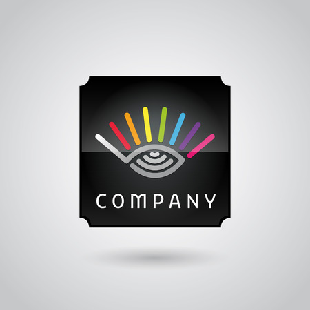digital monitoring services logo with eye book pages and radio sign Ilustrace