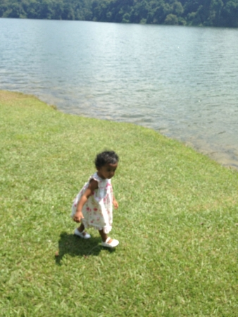 Little lady walkabout in lake  Stock Photo