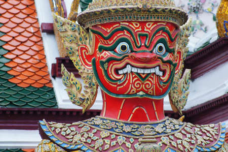 Giant head, Thai scuplture in Buddhist temple photo