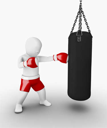 3d man traning boxing photo