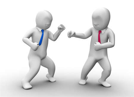 3d business man fighting photo