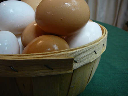 protien: Basket of brown and white eggs
