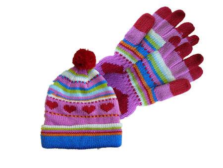 小さな女の子の帽子と手袋