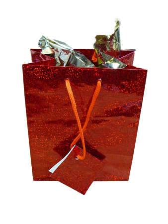 Isolated photo of a red gift bag with gift tag