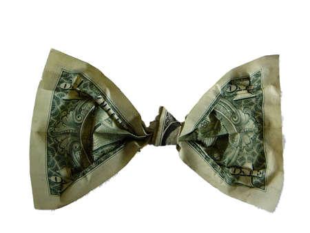 tie bow: Legame Di Arco Del Dollaro Archivio Fotografico
