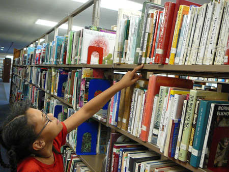 Getting a library book photo