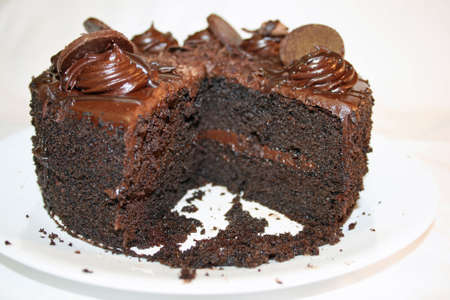 Chocolate cake with slice missing