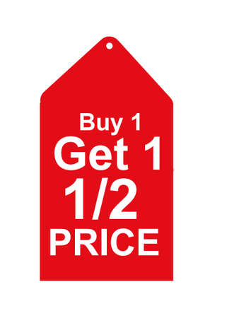 half price: Buy one get one half price sales tag