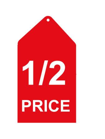 Half price sales tag