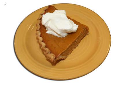 Slice of pumpkin pie photo