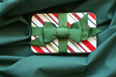 Gift Card Holder on green background  Stock Photo