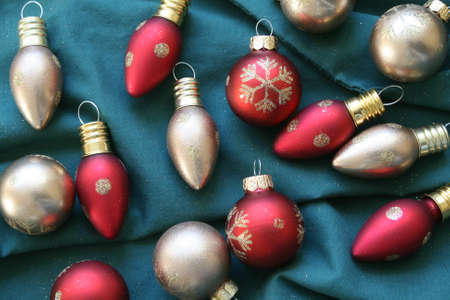 Glittering Christmas ornaments Stock Photo