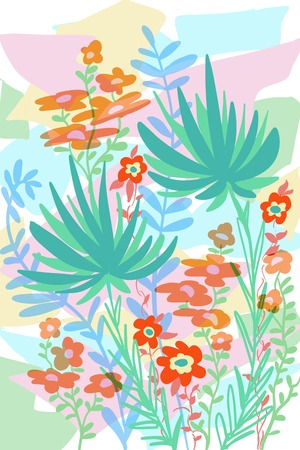 Flat flower garden bouquet of fantasy and retro style flowers, growing on layered abstract background design Stock Photo