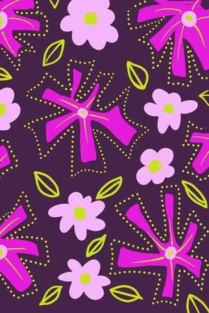 Unique retro flat flower design on dark purple background with abstract dots framing flowers