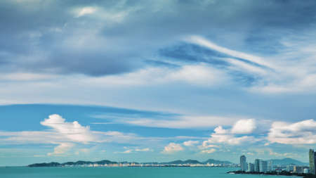 Sea, sky, clouds and city Stock Photo