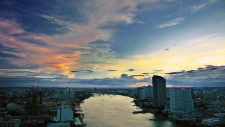 Sunset sky over the city Stock Photo