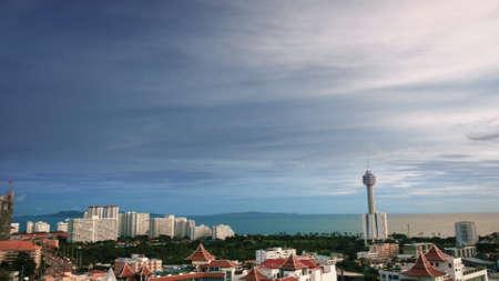 Pattaya city landscape City and clouds.