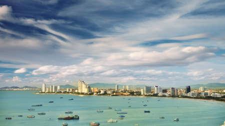 pattaya city view with sku and sea