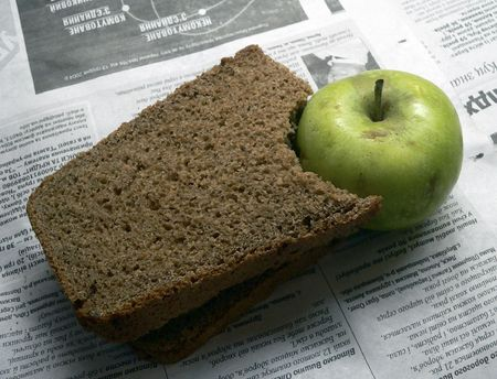 Apple and sandwich for dinner