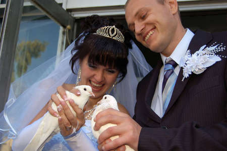Portrait of a newly wedded couple photo