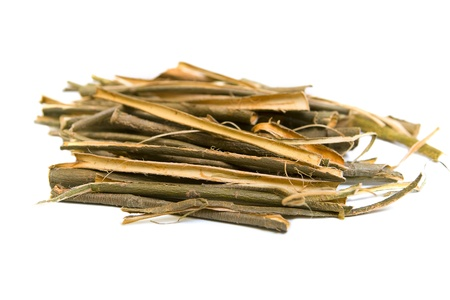 bark background: White willow bark medical herb isolated on white background, used in herbal medicine. Salix alba  Stock Photo