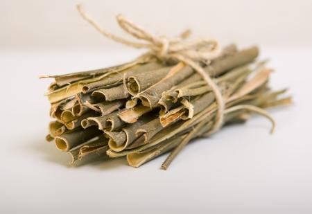 sauce: Corteza de sauce blanco médico, utilizado en la medicina herbal. Salix alba
