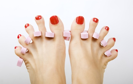 red pedicure  Stock Photo