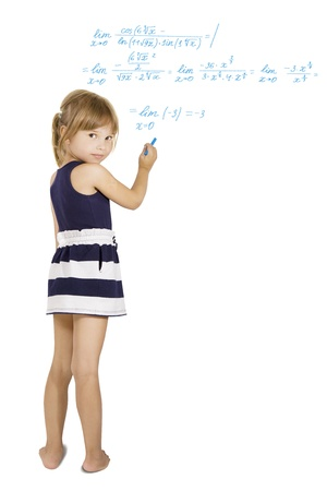 educational problem solving: decision schoolwork - little Schoolgirl solves the hard equation, isolated