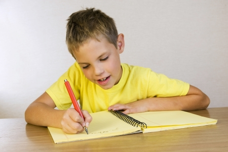 schoolboy writing