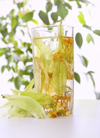 Glass of tea and linden flowers on light background