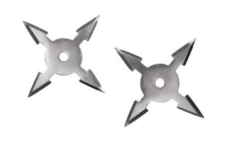shuriken: Throwing star ninja Shuriken isolated on white background. Stock Photo