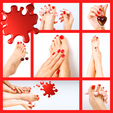 Collage of pedicure process - red manicure and pedicure