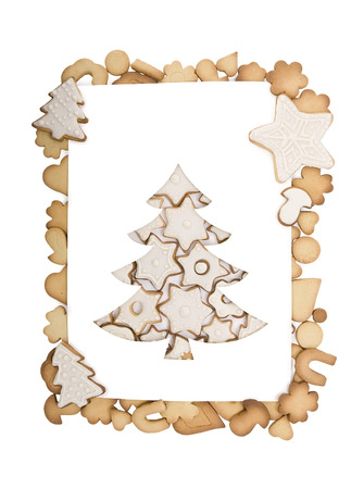 cookie christmas tree. Christmas tree paper cutting with cookie, concept for papercraft card. photo