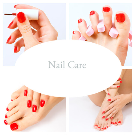 manicure and pedicure: pedicure process - red manicure and pedicure