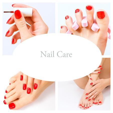 pedicure process - red manicure and pedicure