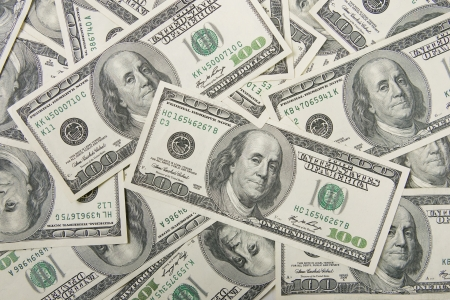mucho dinero: financiación: un montón de dinero (dólares) Foto de archivo