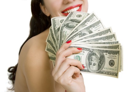 sexy woman and dollar banknotes on a white background (Love for money)