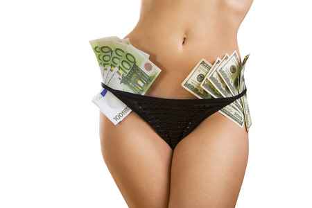 Female perfect sexy body with dollar and euro banknotes (isolated on white background) photo