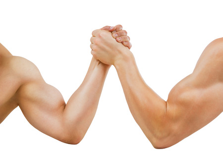 Two muscular hands clasped arm wrestling, isolated on white   photo