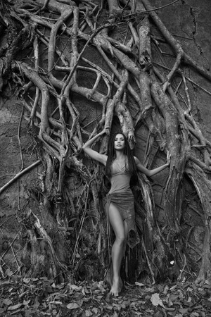 Beautiful young Woman posing near the old Banyan Tree in the in the tropical forest in India (black � and - white photo)  photo