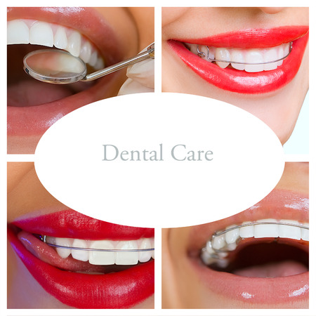collage of photographs on the theme of dental care and healthy teeth